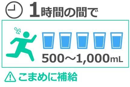 1時間ごとに500~1,000mLの水分補給を