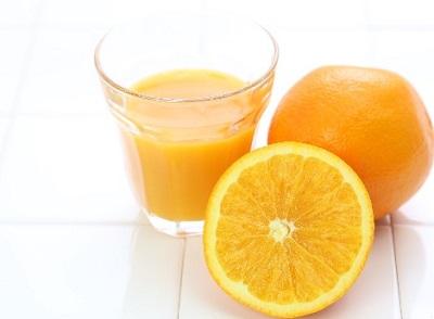 試合前にはオレンジジュース