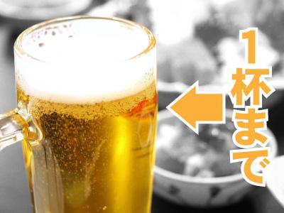ビールは生中1杯分までが適量