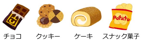 チョコ・クッキー・ケーキ・スナック菓子はダメ
