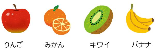 りんご・みかん・キウイ・バナナ