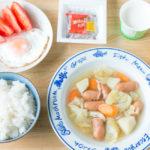 【アスリートの朝食メニュー】具だくさんコンソメスープ献立