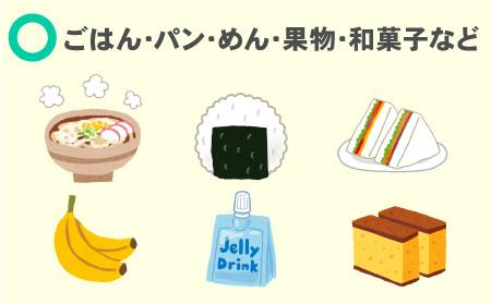 ごはん・パン・めん・果物・和菓子などはしっかり食べる