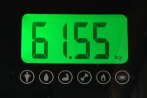 ランニング前の体重(61.55kg)
