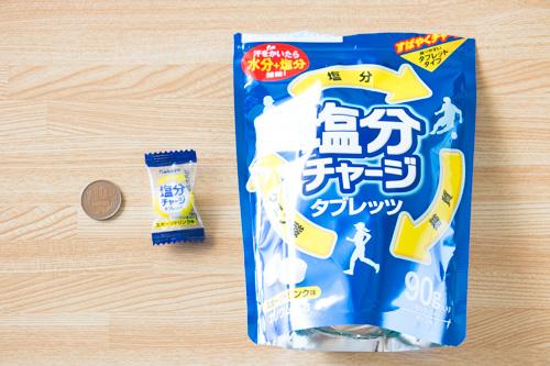 塩分チャージタブレッツのパッケージと粒