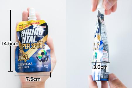 アミノバイタルゼリードリンクの大きさ(幅7.5cm、縦14.5cm、厚さ3.0cm)