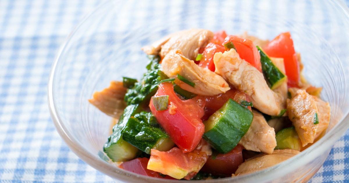 鶏ささみと夏野菜の中華和え