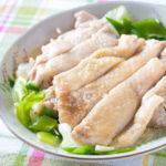 レンジで簡単!塩麹でやわらか蒸し鶏【低脂肪・タンパク質の多い料理】