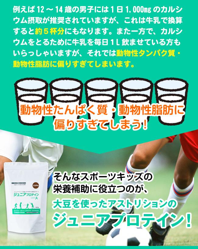 しかし、カルシウム摂取を乳製品に頼ると動物性タンパク質・動物性脂肪に偏ってしまいます。そこでスポーツキッズの栄養補助に役立つのが、大豆のジュニアプロテインです。
