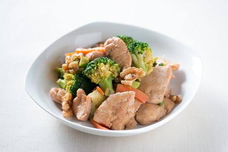 鶏むね肉とクルミの中華炒め