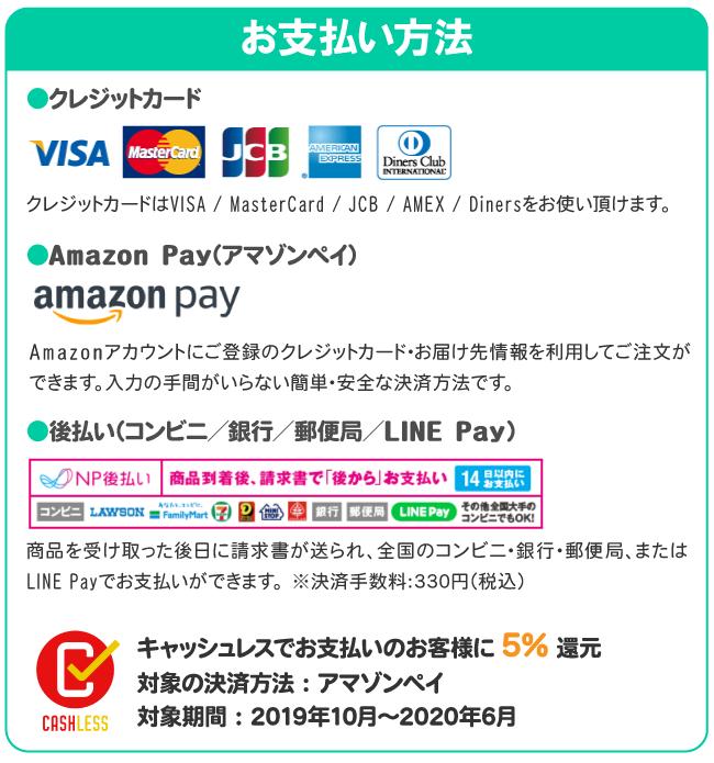 お支払い方法(クレジットカード、NP後払い、AmazonPay)