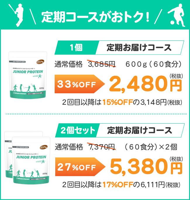 定期コースがお得(1個2,480円、2個セット5,380円)