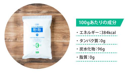 粉飴のエネルギー、炭水化物、タンパク質、脂質