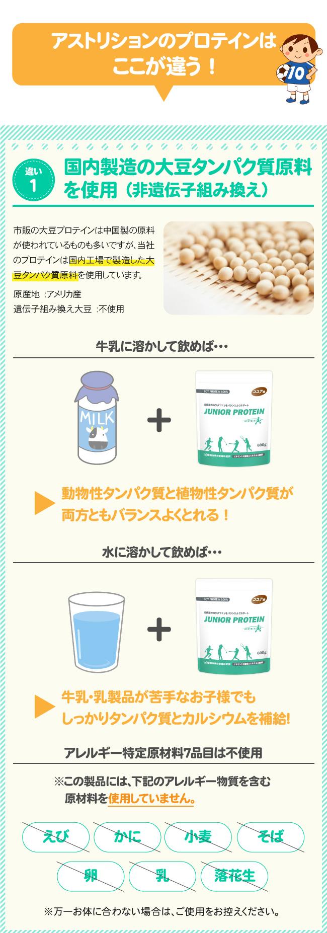 特徴1:国内製造の大豆タンパク質を使用