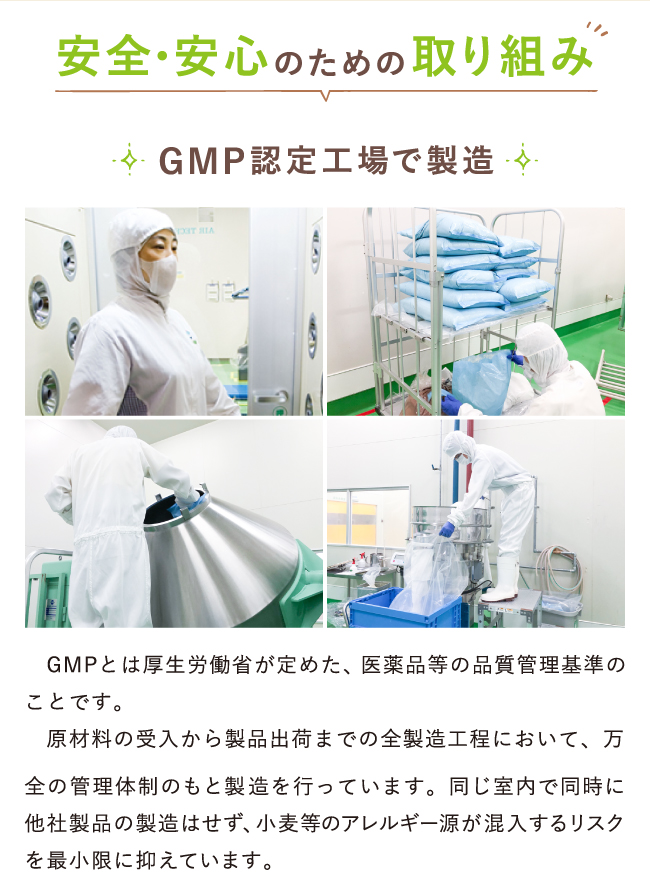 GMP認定工場で製造