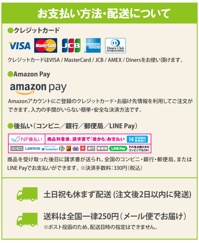 お支払い方法・送料について